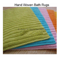 Green Rectangular Hand Made Cotton Bath Rugs