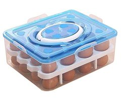 Plastic Rectangle TALLIN ABS 24 Grid Double Layer Egg Box (24 x 15 cm)