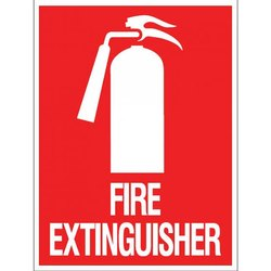 Rectangular Red and White Fire Extinguisher Sign, Thickness: 1.50-10 mm