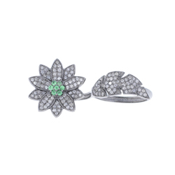 Tsavorite Gemstone Flower Ring