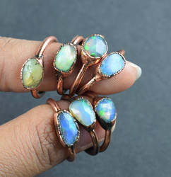 Natural Raw Opal Faceted Gemstone Copper Electroformed Ring