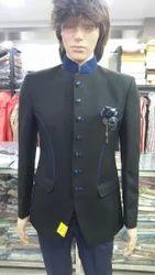 Black With Blue Border Jodhpuri Suit