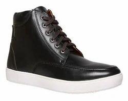 Bata Black Lace Up Boots For Men