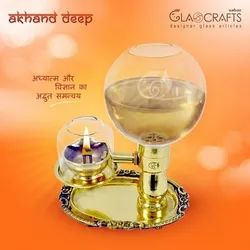Designer Pooja Akhand Deep / Akhand Diya, Size: 500 Ml. Oil Container