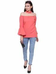 Plain Casual Wear Ladies Casual Pink Top
