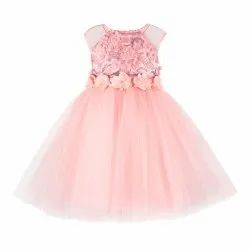 Polyester Sleeveless Kids Girls Party Frocks, Size: 2-12 Years