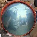 Orange Round Roadside Convex Mirror