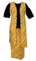 Cotton Slub Diagnol Checks Jacket and Palazzo With Embroidered Crop Top