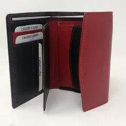 Black And Red Pure Leather Mens Wallets