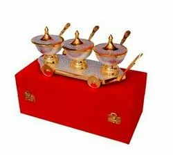 Silver & Gold Plated Brass Trolley Mouth Freshner Set (11x4) Bowl 3 Diameter