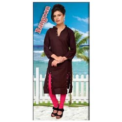 Rayon Plain Button Pattern Ladies Kurti