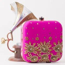 Raw Silk Designer Sling Clutch Bag