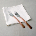 Wooden Color Stainless Steel Fork Copper Pelting. 4 Pcs