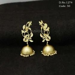 Traditional Antique Matte Finish Jhumki Earrings