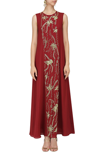 17776ff50 Laddies Designer Gown - Red Embroidered Flared Gown Ecommerce Shop ...