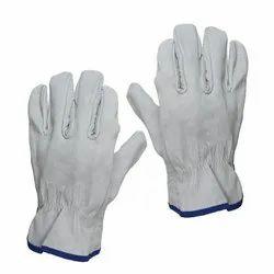 Unisex Leather Safety Gloves, Size: Medium, Finger Type: Full Fingered