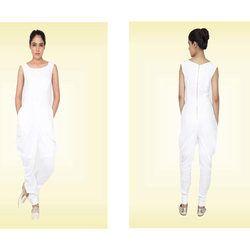 White Linen Cowl Leg Jumpsuit