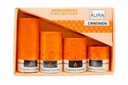 AuraDecor Set Of 4 Fragrance Pillar Candles