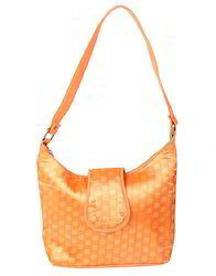 Women Self Weaved Orange Cotton Jacquard Floral Hand Bag