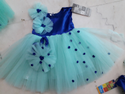 Blue And Sky Blue Girl Kids Fluffy Frocks With Big Headband, 16, 18 And 20, Age: 0-7 Years