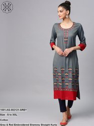 Embroidered Shemrey Straight Kurta