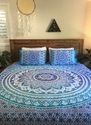 Blue Ombre King Size Mandala Bedding Set With Two Pillow Covers