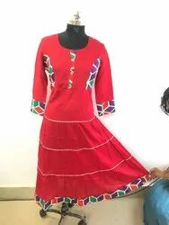 Red Casual Printed Kurti