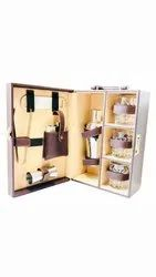 AV Enterprises Brown Leather Portable Bar Set Three Glasses and Cocktail Sekhar