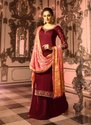 Wine Straight Wedding Wear Palazzo Suits