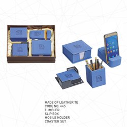 Leatherite Combo (Coaster Set, Mobile Holder, Slip Box and Tumbler)