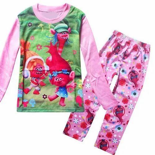 Printed Hand Wash Kids Night Wear Suit