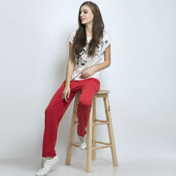 Ladies Cotton Red Lower, Size: S-XL