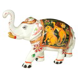 Metal Meena Elephant With Shikar Painting Work