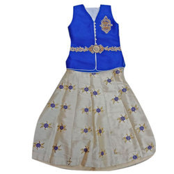 Blue And Cream Girls Kids Party Wear Indo Western Dress