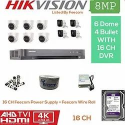 Feecom HIKVISION 4K Supper HD 8MP Cameras Combo KIT 16CH HD DVR 4 Bullet Cameras  6 Dome Camera  2TB