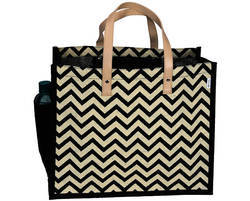 Jute Tesco Bag With Chevron Print