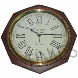 Brown Wood Nautical 8 Corner Antique Wall Clocks, Model No.: TCIL-1495