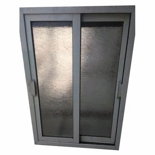 Paint Coated Double Track Aluminium Glass Window, for Residential