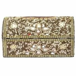 Wooden Embroidered Rectangle Jewelry Box, for Home