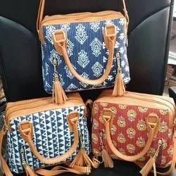 Multicolor Cotton Zipper Sling Bag, 200-300g