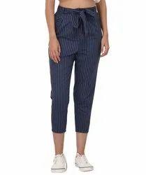 Blue RAAIKA Striped Ankle Length Pants