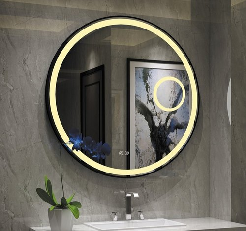 Silver Wall Mounted Round Led Bathroom, Bathroom Mirror With Lights