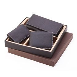 Three-in-one Black Leatherette With White Stitching Wallet Set