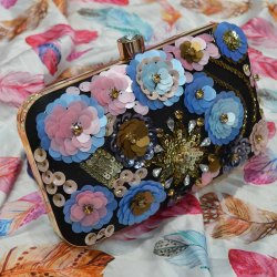 Casual Black Branded Flower Ladies Clutch Ladies Handbag