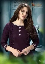 Saira Vol-4 Ram Fashion Traditional Ruby Cotton With Embroidery Designer Kurtis With Pants
