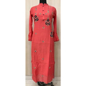 Muslin Long Straight Party Wear Kurti, Size: Xl