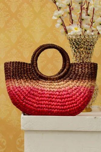 Wow Trendy Water Hyacinth Natural Fibre Handbags (Tortoise Shell And Azalea Color)