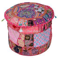 Traditional Ottoman Pouf Cover Embroidered Ottoman Covers