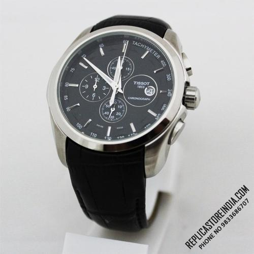 Black Steel Tissot 1853 Coutrier Leather Strap Chronograph ...