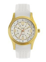 OMAX Men White Silicon Analog White Dial Gold Tone Watch